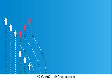 bleu, différent, flèche, avoir, parcours, lignes, direction, papier, fond, concepts, directions, blanc, ou, rouges