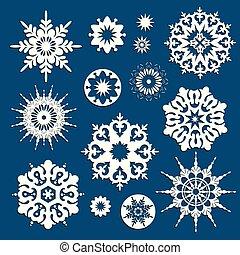 bleu, différent, flocons neige, collection, forme, fond, noël blanc