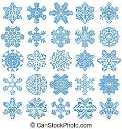bleu, différent, flocons neige, collection