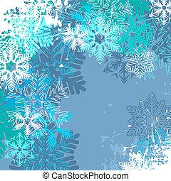 bleu, différent, lumière hiver, fond, flocons neige