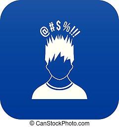 bleu, différent, sien, sur, signes, tête, homme numérique, icône