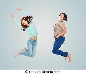 bleu, différent, sur, sauter, femmes heureuses