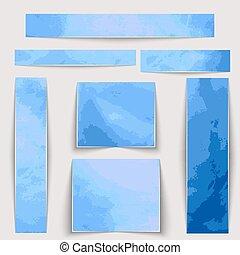 bleu, différent, taches, set., texture, aquarelle, sizes., textured, bannières