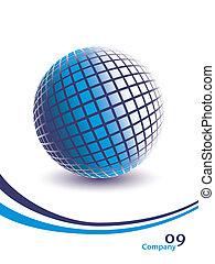 bleu, dimensionnel, globe., trois