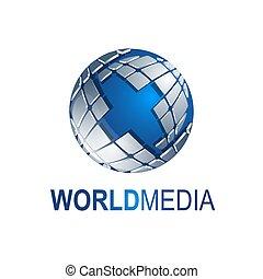 bleu, dimensionnel, illustration., couleur, média, résumé, trois, gris, formes, vecteur, gabarit, mondiale, logo, globe