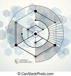 bleu, dimensionnel, isométrique, cube, disposition, linéaire, elements., formes, résumé, différent, vecteur, hexagones, maille, fond, cubes, rectangles, carrés, 3d