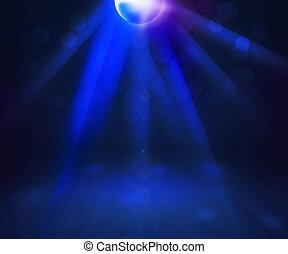 bleu, disco, salle, fond, exposition