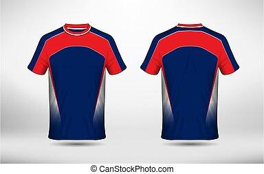 bleu, disposition, e-sport, t-shirt, conception, gabarit, blanc rouge
