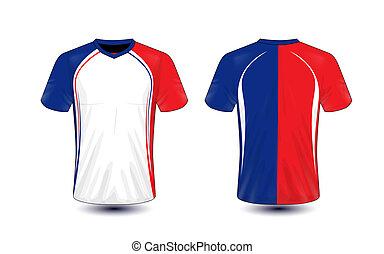 bleu, disposition, e-sport, t-shirt, conception, gabarit, blanc, rouges