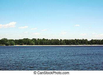 bleu, distance, terre, ciel, long, fond, mer, plage, végétation