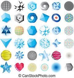 bleu, divers, résumé, isoler, icônes