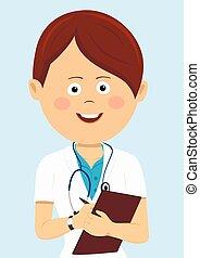 bleu, docteur féminin, writting, isolé, uniforme, presse-papiers, stéthoscope, fond
