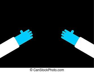 bleu, docteur, illustration, vecteur, mains, gloves.