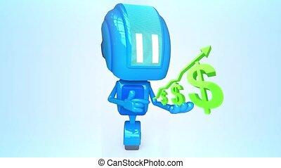 bleu, dollars, robot