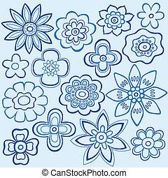 bleu, doodles, fleur, conception, vecteur