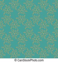 bleu, doré, éléments, seamless, arrière-plan., retro, fond, floral