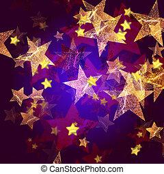 bleu, doré, étoiles, violet