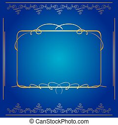 bleu, doré, cadre, vecteur, fond