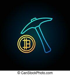 bleu, doré, cueillir, bitcoin, hache, icône