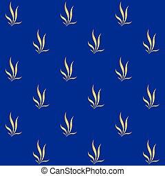 bleu, doré, floral, modèle fond