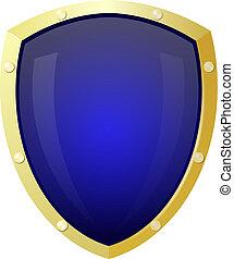 bleu, doré, isoler, bouclier, arrière-plan.