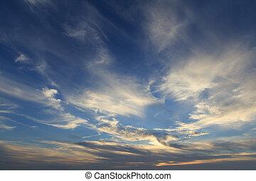 bleu, doré, lumière, ciel, panoramique, dramatique