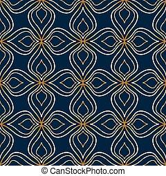 bleu, doré, modèle, résumé, seamless, fond foncé, floral