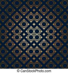 bleu, doré, -, ornement, sombre, vecteur, fond