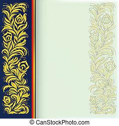 bleu, doré, résumé, ornement, fond, floral
