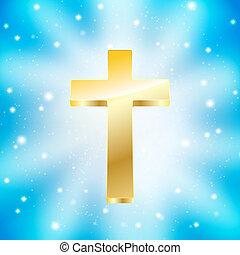 bleu, doré, rayons, lumière, croix, fond
