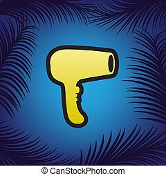 bleu, doré, signe., sèche-cheveux, noir, vector., contour, icône