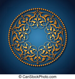 bleu, doré, sur, ottoman, motifs