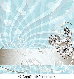 bleu, doux, cadre, floral