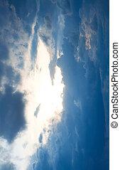bleu, dramatique, nuages