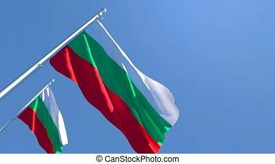 bleu, drapeau bulgarie, voler, contre, ciel, national, vent