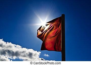 bleu, drapeau, ciel, rouges