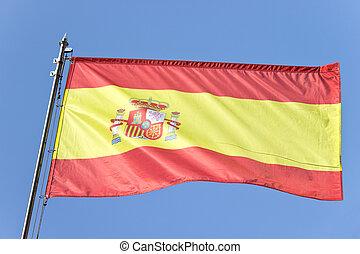 bleu, drapeau, ciel, sur, espagnol