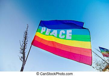 bleu, drapeau, paix, ciel