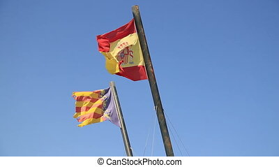 bleu, drapeaux, ciel, espagne, valence