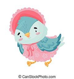 bleu, dress., illustration, dessin animé, arrière-plan., vecteur, oiseau blanc