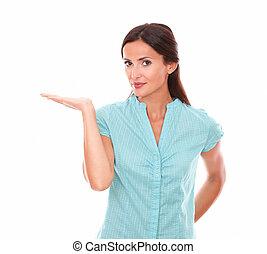 bleu, droit, chemise, haut, paume, tenue, joli, dame