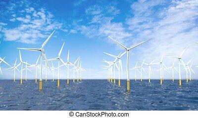 bleu, droit, groupe, sky., ferme, former, animation, turbines, nuageux, océan, milieu, appareil photo, par, gauche, devant, pendant, 3d, jour, vent, mouvement