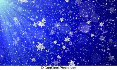 bleu, droit, hiver, arrière-plan., fond, tomber, noël, boucle, gauche