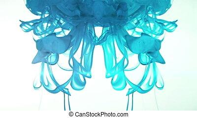 bleu, drop., encre