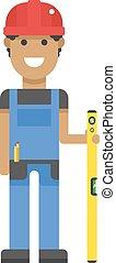 bleu, dur, règle, character., ouvrier, jaune, uniforme, mesure, chapeau