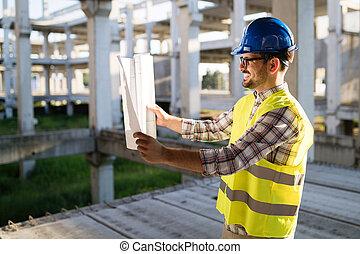 bleu, dur, site, entrepreneur, papier, tenue, impression, portrait, mâle, chapeau, ingénieur
