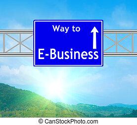 bleu, e-affaires, panneaux signalisations