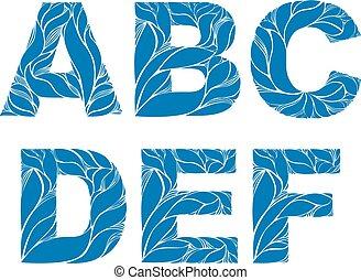 bleu, e, d, lettres, c, b, printemps, ornament., a, modèle, délicat, capital, naturel, police, marin, f.