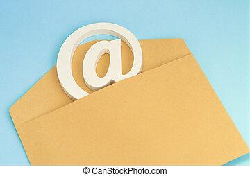 bleu, e-mail, fond, brun, signe, enveloppe