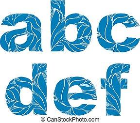 bleu, e, style, c, b, marin, ornament., letters., minuscule, a, élégant, vecteur, police, floral, d, composer, f